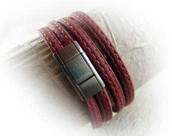 Herren Damen Armband Kork vegan rot Edelstahl matt gebürstet silber Wickelarmband Geschenk für Ehemann Freund Ehefrau Freundin
