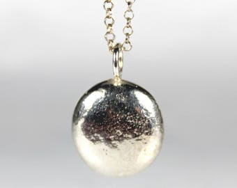Large Rounded Pebble Pendant Necklace, Recycled Sterling Silver Pebble, Solid Sterling Silver, Heavy Boho Jewellery, Gifts for Her