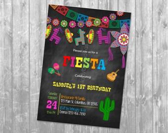 Birthday fiesta invitation. Invitación de cumpleaños. Invitación fiesta mexicana. Fiesta invite. Digital. JPEG file. Printable invitation.