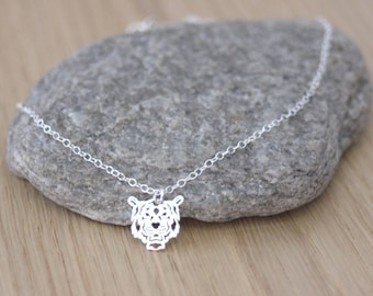 Sterling Silver tiger Head Necklace - minimalist necklace - ethnic necklace - fine silver necklace - silver choker - tiger necklace