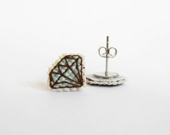 Blue diamond cross stitch earrings, aquamarine diamond, gifts for her, gifts under 30. Made to Order