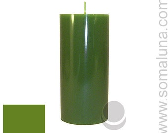 3 x 6.5 Green Classic Hand-poured Unscented Pillar Candles Solid Color