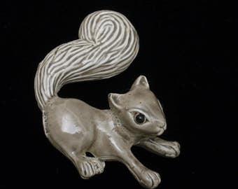 Squirrel Pin Grey Enamel Stephen Marc 1987