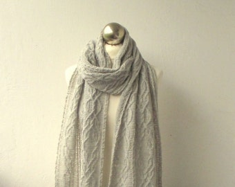 Light Grey hand knitted  long scarf with cable pattern, knitted alpaca and wool scarf