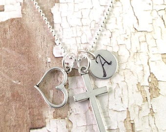 Personalized Cross Heart and Intial Necklace, personalized necklace, charm necklace, initial necklace, cross jewelry, heart jewelry, for her