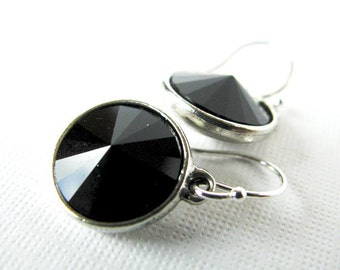 Jet Setter - Swarovski Rivoli Rhinestone Drop Earrings in Jet Black - With Silver Plated Settings, Bridesmaid Jewelry, Everyday Glamour