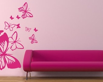 Butterflies in the wind - wall decals