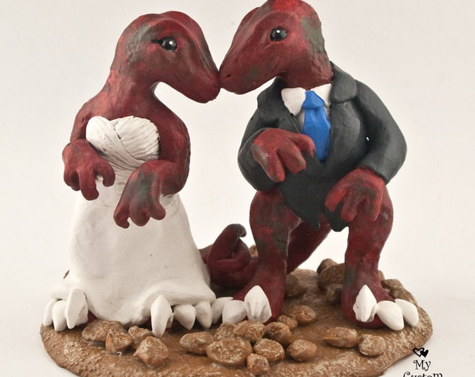 Raptors Dinosaur Wedding Cake Topper - Realistic Dino Bride and Groom