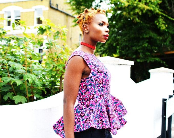 Featured listing image: Charlie pink peplum African print, peplum top, Pink, African fabric, Ankara clothing, African Fashion, Women's Clothing, Ankara top