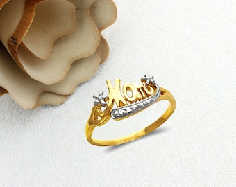 Mother's Day Gift 14K Real Solid Gold Mom Ring Yellow Gold White Gold Two Tone Band Size 5 to 9