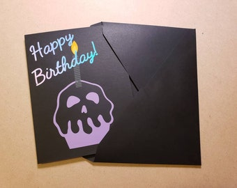 Rockabilly Birthday Card Skull Cupcake Psychobilly Punk Goth Custom Card