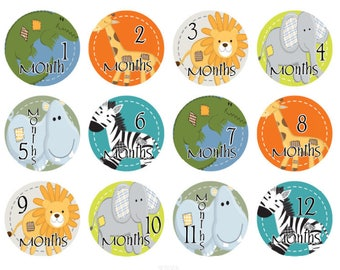 Baby Monthly Stickers, Baby Month Stickers Boys, Milestone Stickers, Month Stickers, Monthly Baby Stickers, Animal Stickers