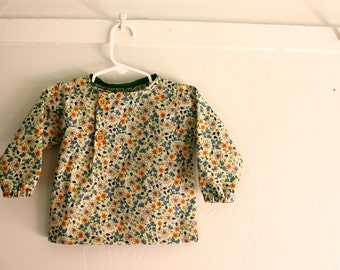 12 to 18 month Asymmetrical Modern Cotton Shirt with Small Green Floral Print, Long Sleeve, Toddler Shirt, Fall, Winter, Spring, Tunic