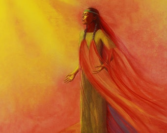 """Seeking the Light - """"8x""""10 print of a painting of a Native American woman standing in the morning sunlight by Ria Spencer"""