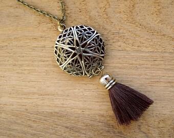 Ethnic Brown Tassel Locket Pendant, Festival boho style essential oil diffuser, Brass filegree aromatherapy charm, Tribal dream catcher