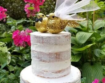 SALE CHOOSE your head flower wedding  gold glitter love birds   wedding cake topper or wedding anniversary