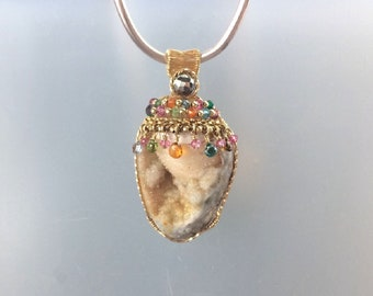 Gold Filled Wire Wrapped Natural Fossil Shell Druzy Pendant with Marcarsite, Multi-Colored Gemstone Briolettes and Rondelles