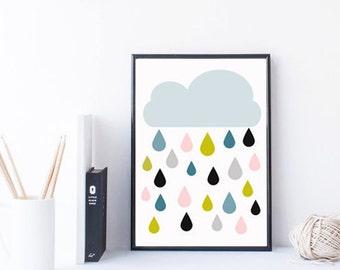 art de mur nuage imprimable avec des gouttes de pluie colorées