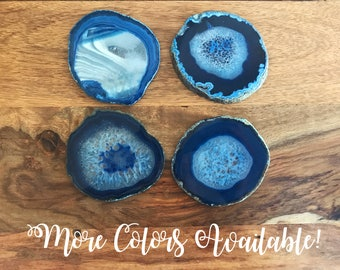 Blue Agate Coaster Set- Agate Slice, Stone Coasters, Agate Decor, Agate Geode, Geode Coasters, Gift for Men Gift for Bride black friday sale