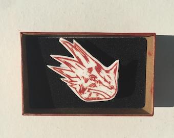 Printed Badge, Pin,  Dinosaurs, Prehistoric Animals, Triceratops, Linocut Print, Handmade Gift, Birthday Gift Idea,