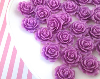 10 Purple Rose Cabochons 20mm