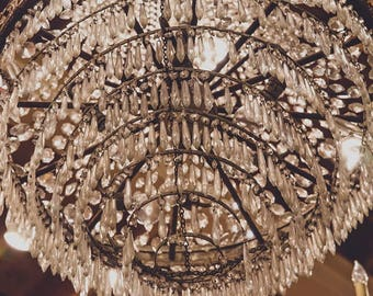 Antique Chandelier photo photograph print art photography romantic crystal fine art Vintage Home Decor Shabby Chic Old Time Look Photography