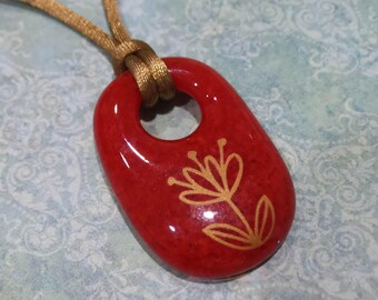 Flower Pendant, Red Glass Jewelry, Gold Flower, Fused Glass Pendant, Ready to Ship, Gift for Her - Gold Blossoms - 4240 -1