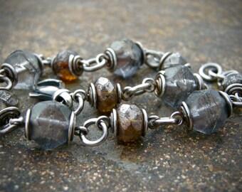 czech glass bead bead bracelet, gray and brown beaded bracelet, handmade bracelet
