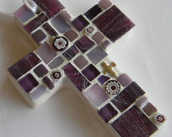 Purple Mosaic Cross, First Communion Gift, Baptism Gift, Baby Shower Gift, Hostess Gift, Gift for Goddaughter, National Best Friend Day Gift