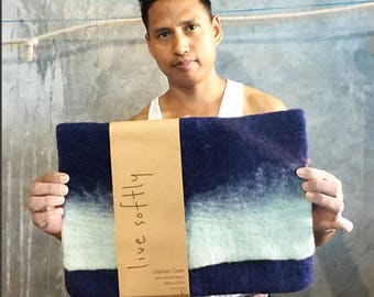 """Hand Felted Wool Laptop Case - Shibori Blue - Sizes: 11-12""""/ 13""""/15"""""""