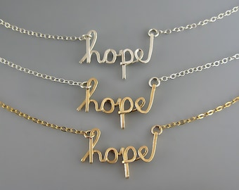 Hope Necklace - cursive word with delicate sterling silver or 14k gold filled chain, mixed metal inspirational jewelry