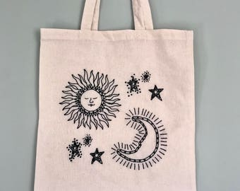 Hand Embroidered Sun and Moon Canvas Tote Bag