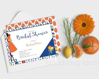 Bridal Shower Invitation, printable. Digital bridal shower invite. Orange flower and citrus. Margarita wedding invitation. Summer invitation