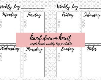 hand.drawn.heart - simple.hearts weekly log printable - A5