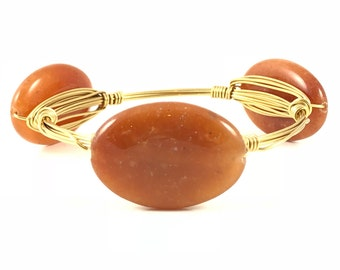 Brown Agate Wire Wrapped Bangles - Wire Jewelry - Gemstone Bracelet - Mother's Day Gift - Stacking Bracelets - Courtney And Courtnie