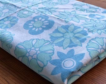 Single   Bed Sheet-Flanelette  Sheet-Flat Sheet-1970's-Retro Fabric- Blue Floral Fabric-Vintage Sewing-Bed Sheets-Sheets.