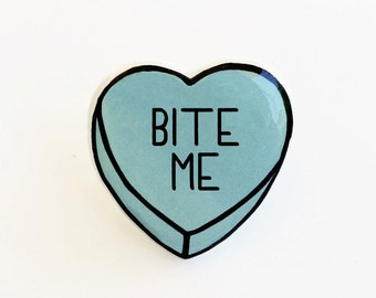 Bite Me - Anti Conversation Blue Heart Pin Brooch Badge