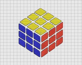 Rubik's Cube Puzzle Embroidery Design in 2x2 3x3 4x4 5x5 and 6x6 Sizes