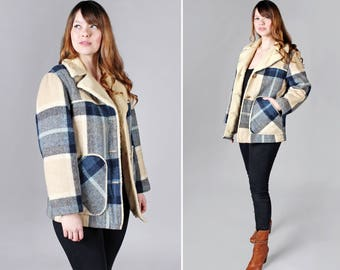 Vintage 1970's Sherpa and Plaid Coat - Off White Tan Winter Jacket Blue Pea Coat Plaid Lining 70's Outerwear Womens Ladies - Size Medium