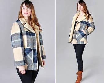 Vintage des années 1970 Sherpa et manteau à carreaux - Off White Tan hiver Veste Caban bleu doublure à carreaux des années 70 vêtements femmes dames - taille moyenne