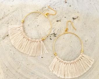 Silicon fook allergy free Fringe earrings tassel earrings beige white hoop earrings