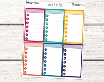 Weekly Sidebar Box 03, Monday - Sunday Planner Stickers, Erin Condren Planner Stickers, Weekly Planner Stickers, Schedule Stickers
