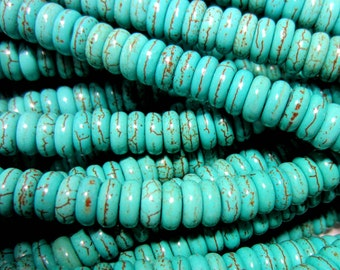 Turquoise beads howlite strand apx 80 gemstone rondelle beads 8mm x 5mm HP558 (E3)