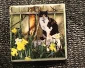 "Magnet  Cat in Garden 'Ginger' 1.75"" x 1.75"""