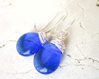 Cobalt Blue Drop Earrings. Wire Wrapped Glass Dangle Earrings. Blue Glass Earrings. Royal Blue Glass Jewelry