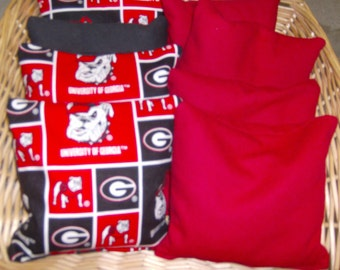 4 PC Set Corn Hole Game Bags 4 Georgia Bulldogs and 4 Red Game Bags