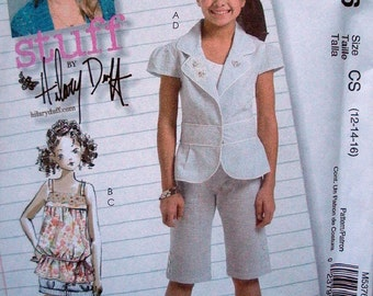 McCalls Stuff by Hillary Duff Pattern M5376 Girls Jacket, Top, Shorts and Capri Pants Girls Size 12-14-16 UNCUT Pattern Dated 2007
