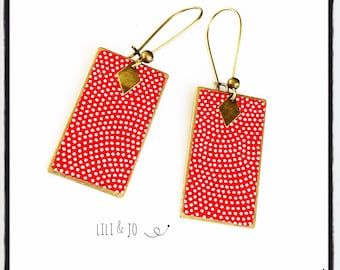 Japanese collection: rectangle, red and gold earrings