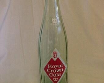 1963 12 Ounce RC Royal Crown Cola NEHI Corporation,  Aqua ACL Painted Label Crown Top Soda Bottle, Man Cave Decor