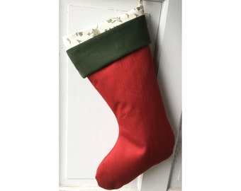 Modern Red Christmas Stocking - Green Wool Cuff and Toile Lining - Heirloom Holiday Decor
